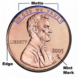 """Coin Anatomoy: Example of a """"D"""" Mint Mark. Source: coinsuniverse.com"""