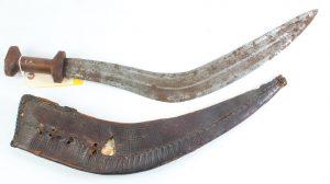 Lot# 195a, Oct 21, 2014 Description:Nepal Kukri Machete Gurkha Knife w/Leather Sheath